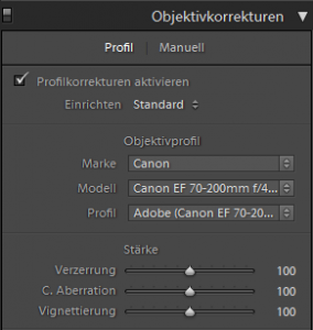 Objektivkorrektur in Lightroom